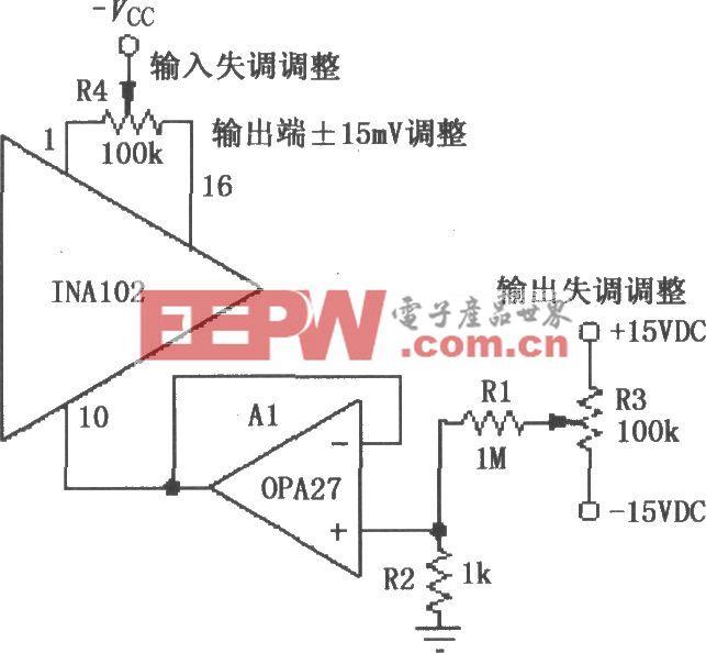 INA102微调输入和输出失调电压电路