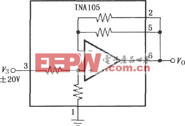 增益为1/2的精密放大电路(INA105)
