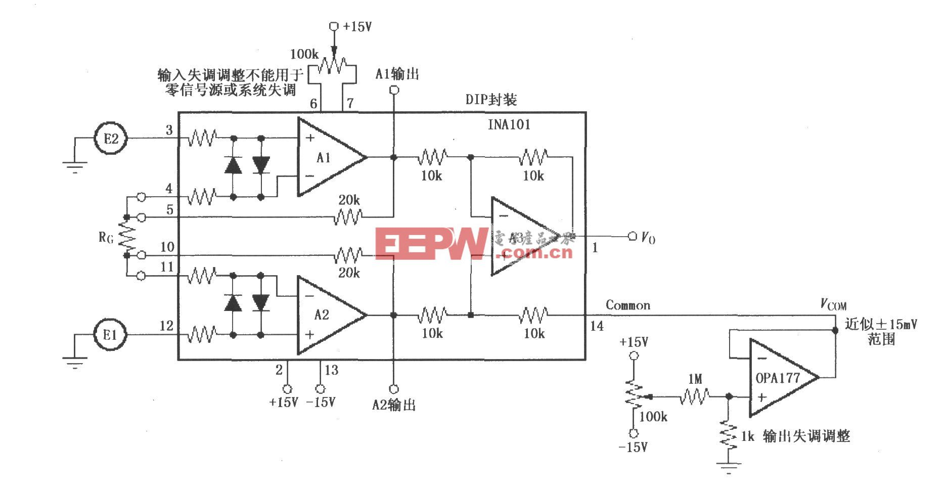 INA101的可微调输入和输出失调电压电路