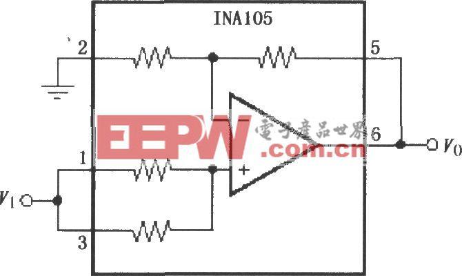 增益为2的精密放大电路(INA105)