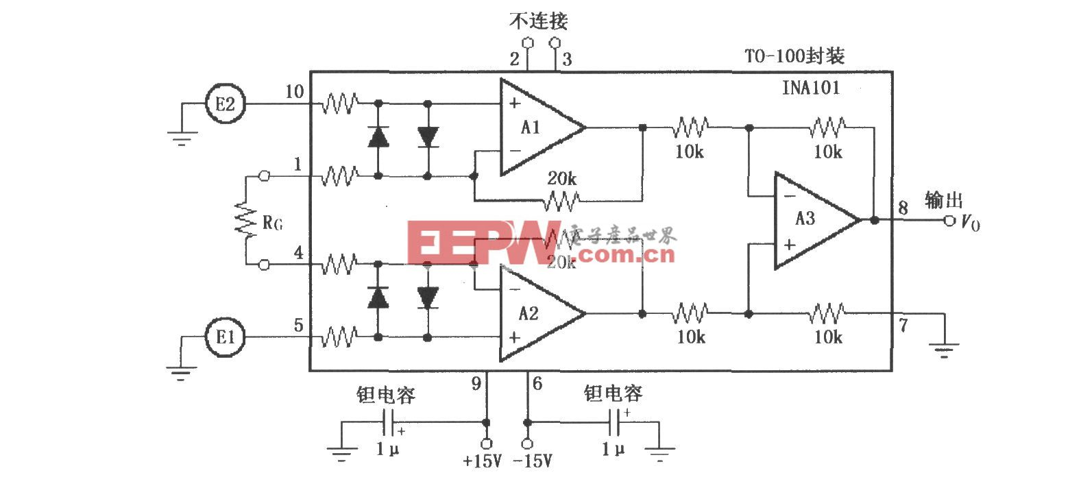 INA101的TO-100金属封装电路