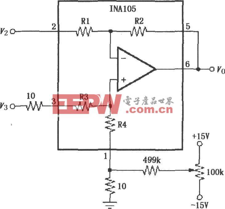 INA105可微调失调电压电路