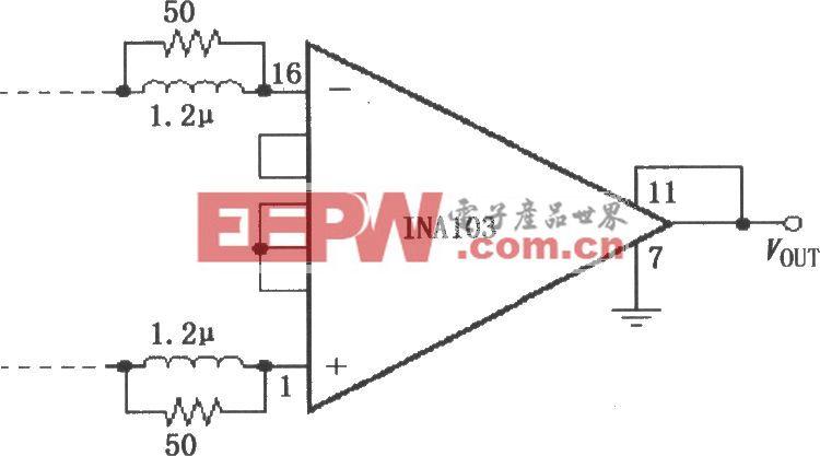 INA103构成的使放大器稳定工作的输入网络