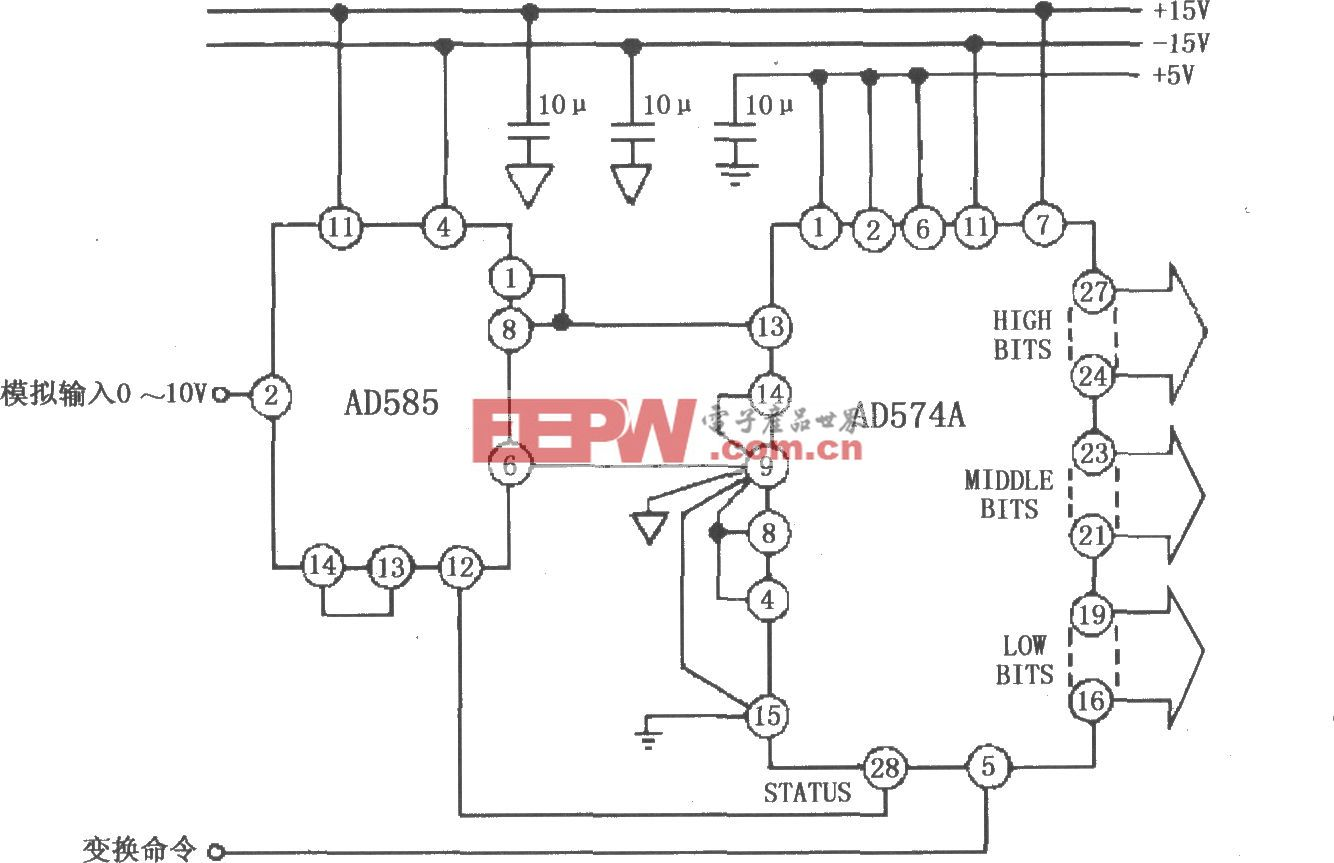 AD585的12bit A/D变换系统电路