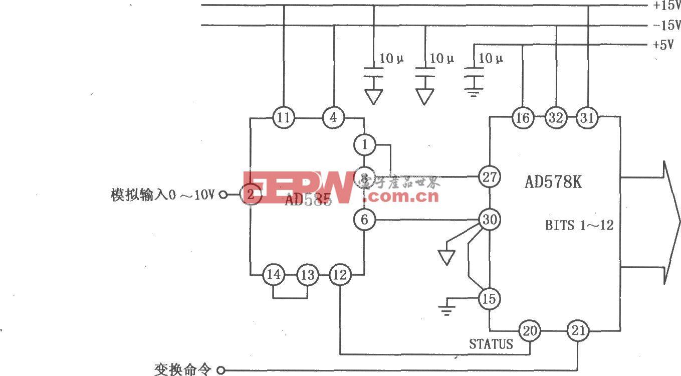 AD585应用于A/D变换系统的电路