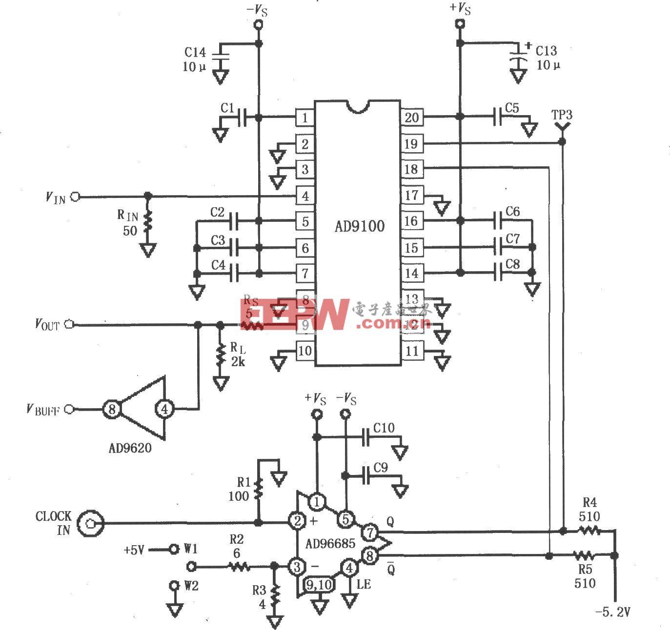 采样保?#22336;?#22823;器AD9100接口的测试板电路