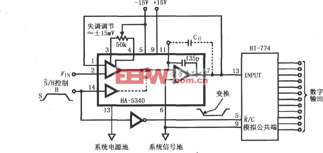 HA-5340的同相单位增益模式基本连接电路