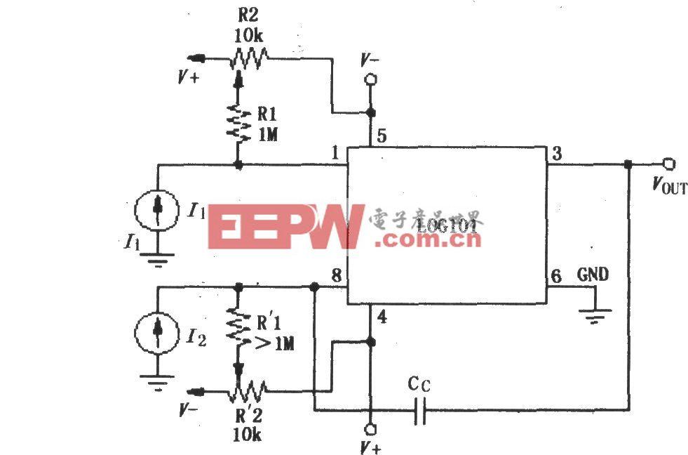 对数和对数比率放大器LOG101/104的偏流调零电路