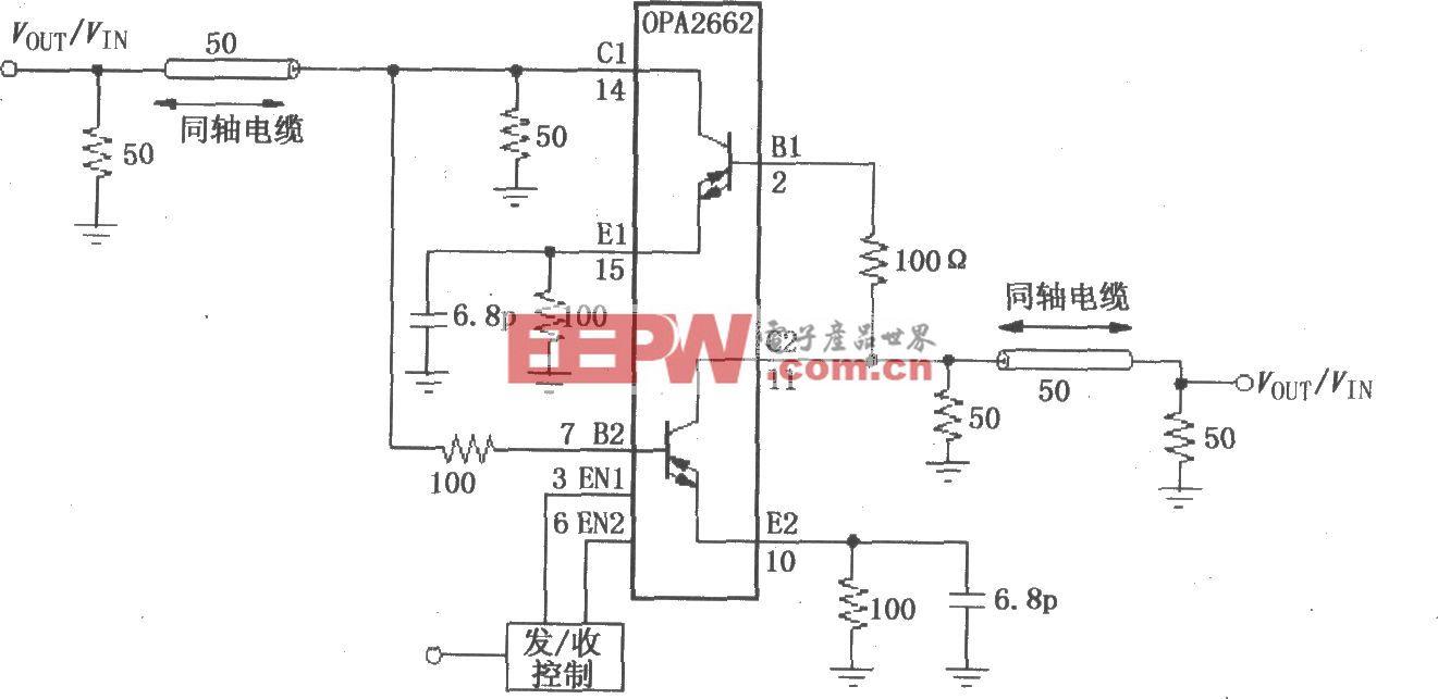由双宽带跨导型运算放大器OPA2662构成的双向线驱动电路