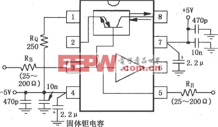 宽带跨导型运算放大和缓冲器OPA660的信号和电源的基本连接电路
