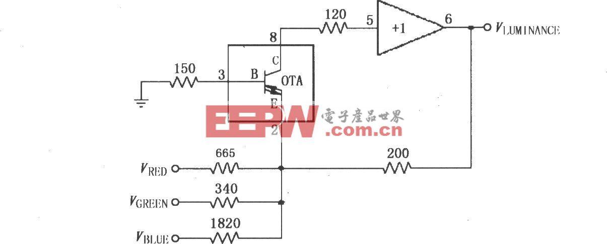 由宽带跨导型运算放大和缓冲器OPA660构成的视频亮度矩阵电路