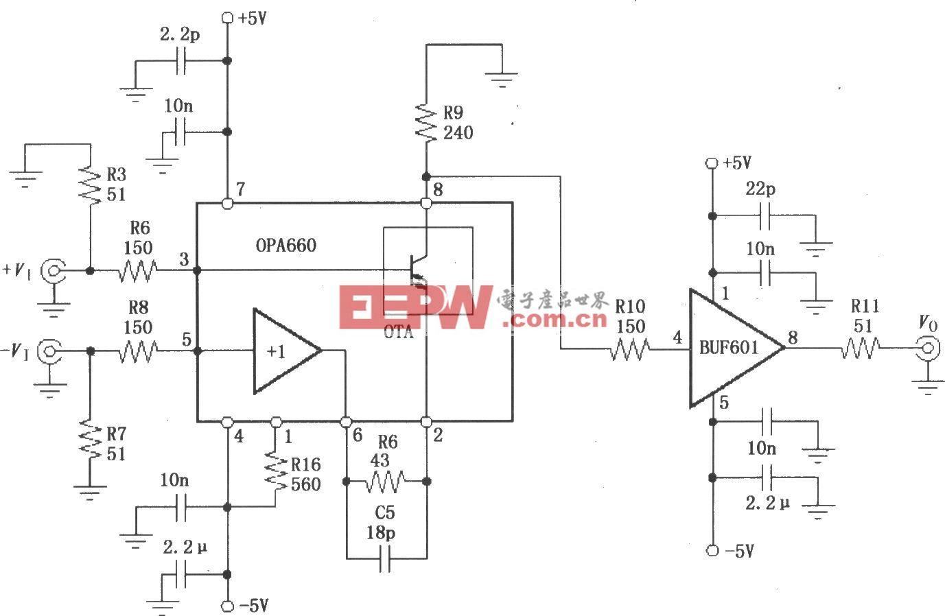 由宽带跨导型运算放大和缓冲器OPA660与缓冲放大器BUF601构成的400MHz差分放大电路