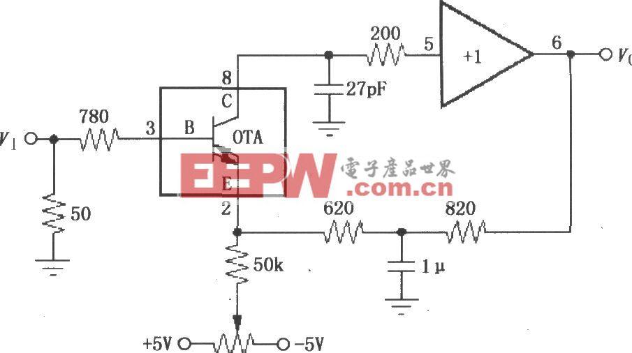由宽带跨导型运算放大和缓冲器OPA660构成的纳秒级脉冲积分电路