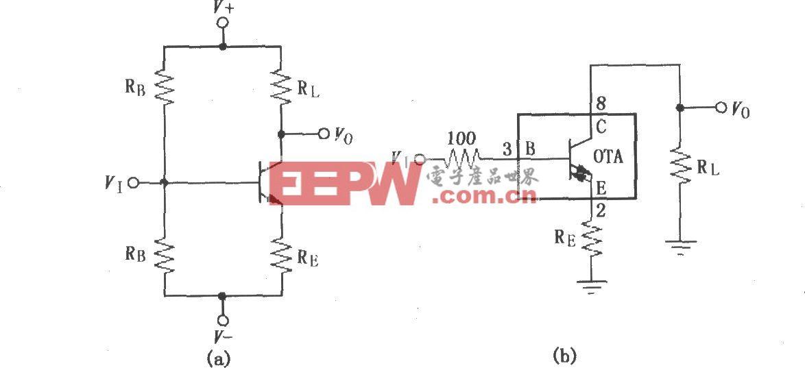 宽带跨导型运算放大和缓冲器OPA660共发射极(共-E)放大电路