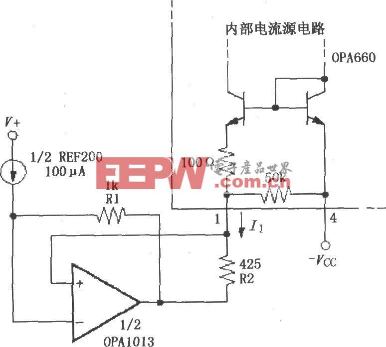 设置宽带跨导型运算放大和缓冲器OPA660静态电流的控制环路电路