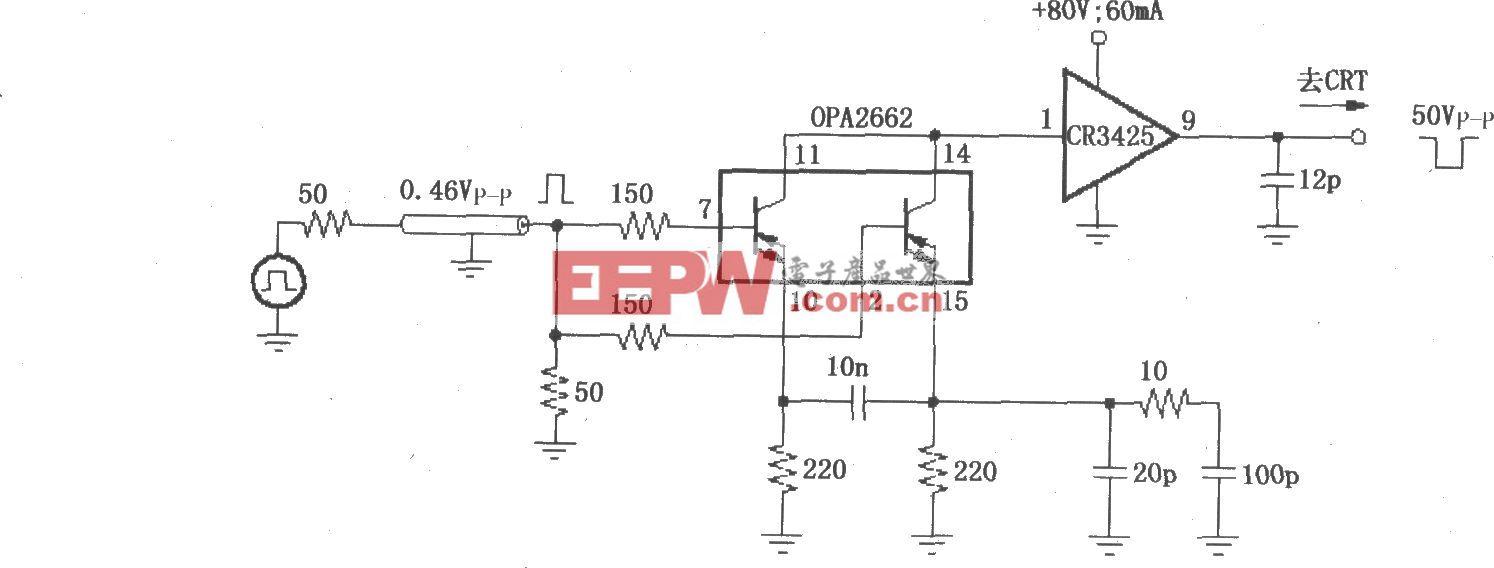 由OPA2662构成的1600×1200高分辨率图形监控器CRT输出级驱动电路