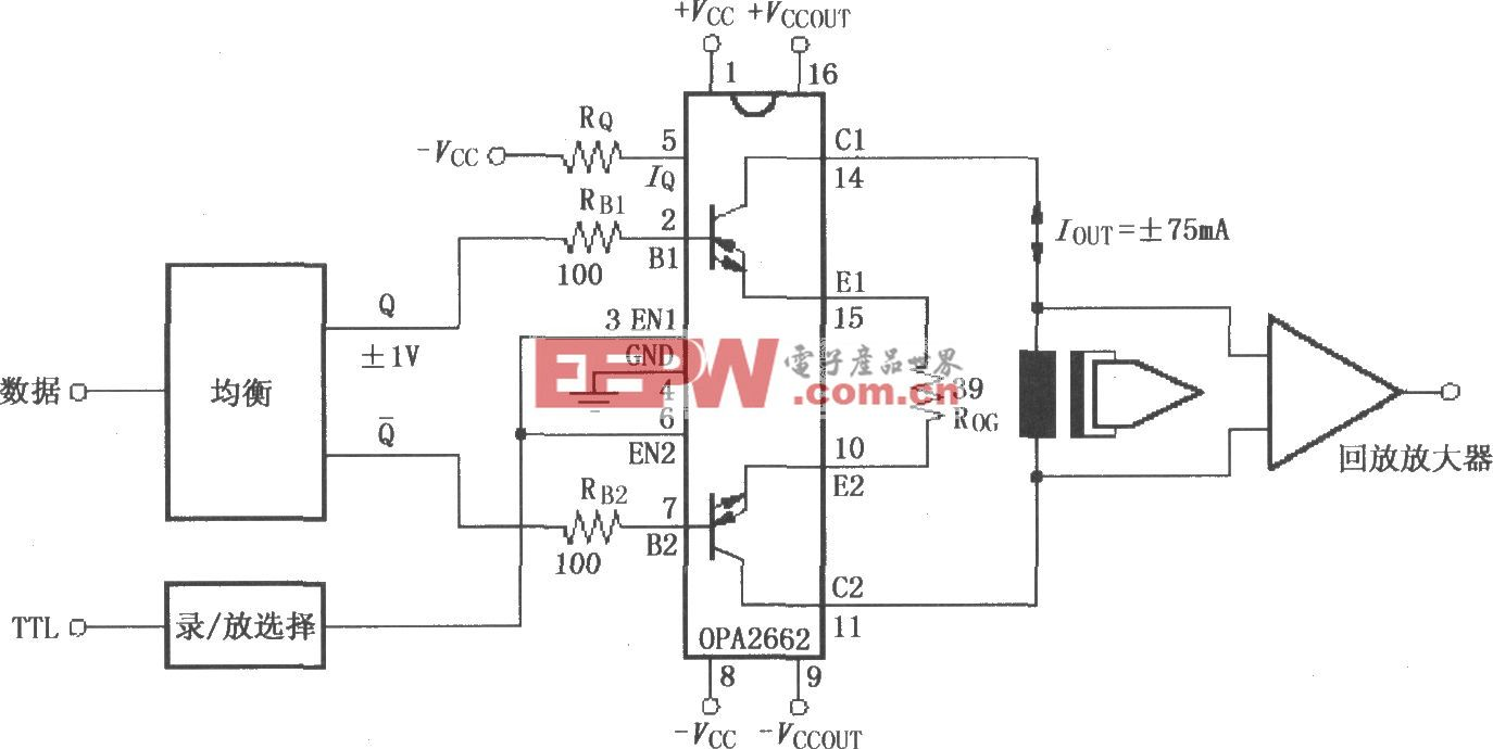 由双宽带跨导型运算放大器OPA2662构成的模拟-数字视频磁带录制放大电路
