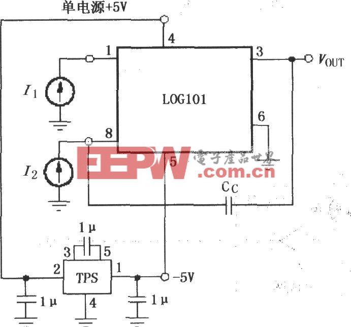 对数与对数比率放大器LOG101/104的单电源 5V供电工作电路