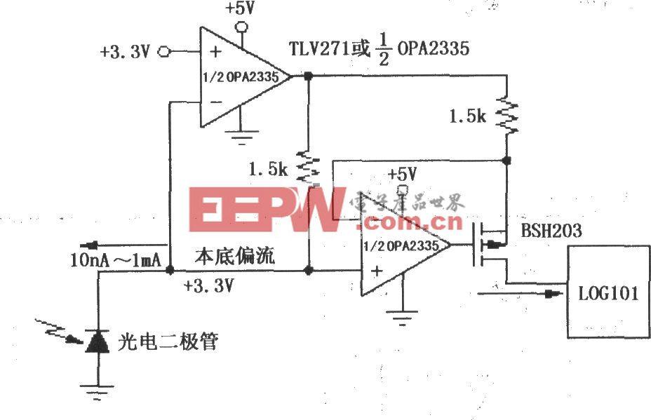 由LOG101/104与运放OPA2335构成的精密电流反向器/电流源电路一