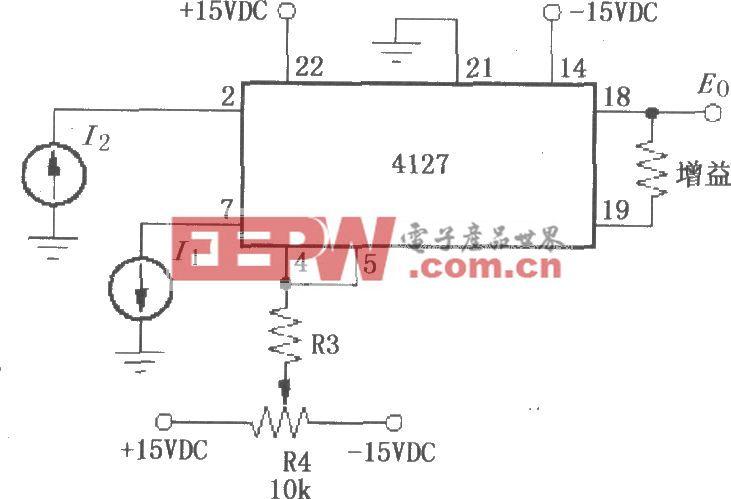 I1为负、I2为正时的对数变换功能电路(对数放大器4127)