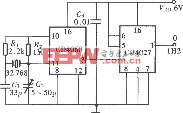 1Hz时钟信号源电路(CD4060、CD4027)