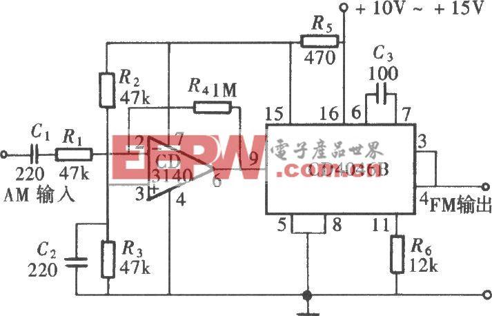 用CD4046组成的调频信号发生器