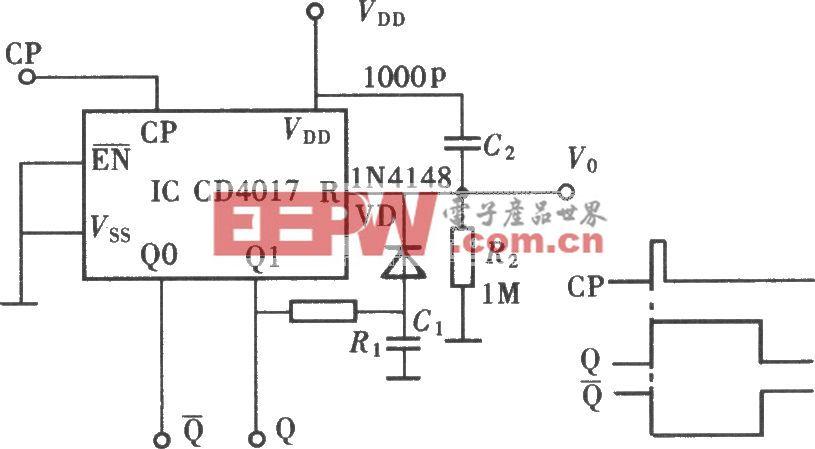 用CD4017组成单稳态触发器