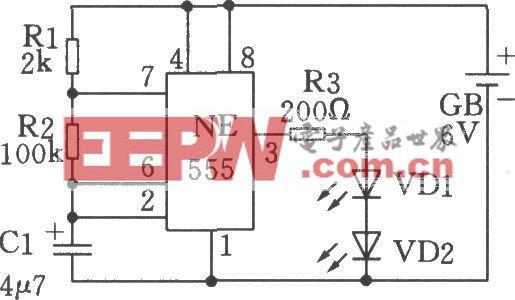 利用555时基电路制成的低频振荡(闪烁发光电路)电路一