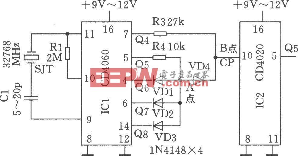 用32768Hz晶体SJT组成的时基电路产生60Hz信号