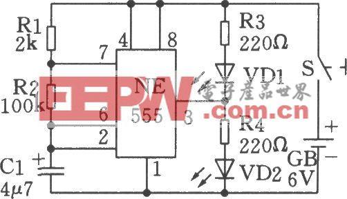 利用555时基电路制成的低频振荡(闪烁发光电路)电路二