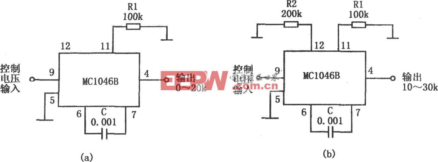 MC1046B构成的压控正弦波振荡器