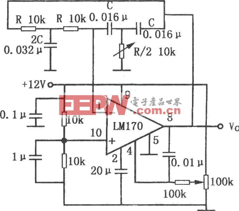 LM170构成的输出稳定的双T正弦波振荡器