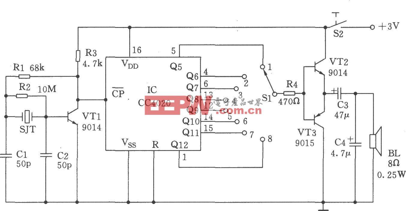 CC4020组成的石英晶振与分频电路