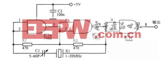 """""""与非""""门TTL晶体振荡器"""