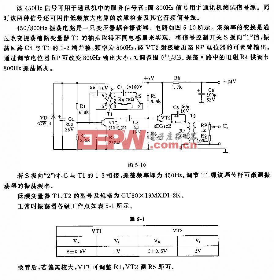 450/800Hz信号发生器电路