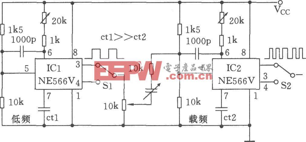 两只NE566V构成低频FM发生器