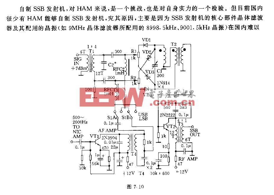 用移相法产生SSB信号电路