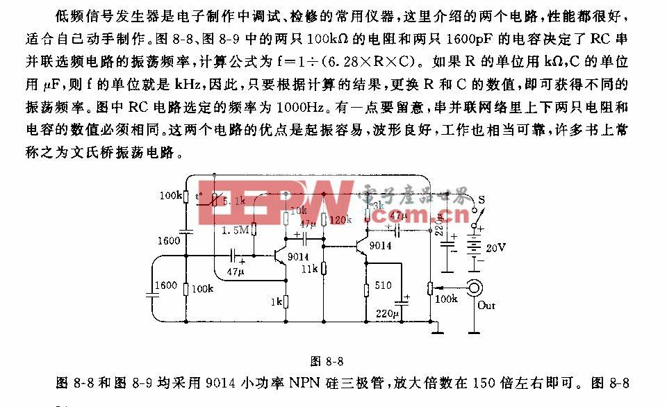 两种适合自制的文氏桥低频信号发生器电路