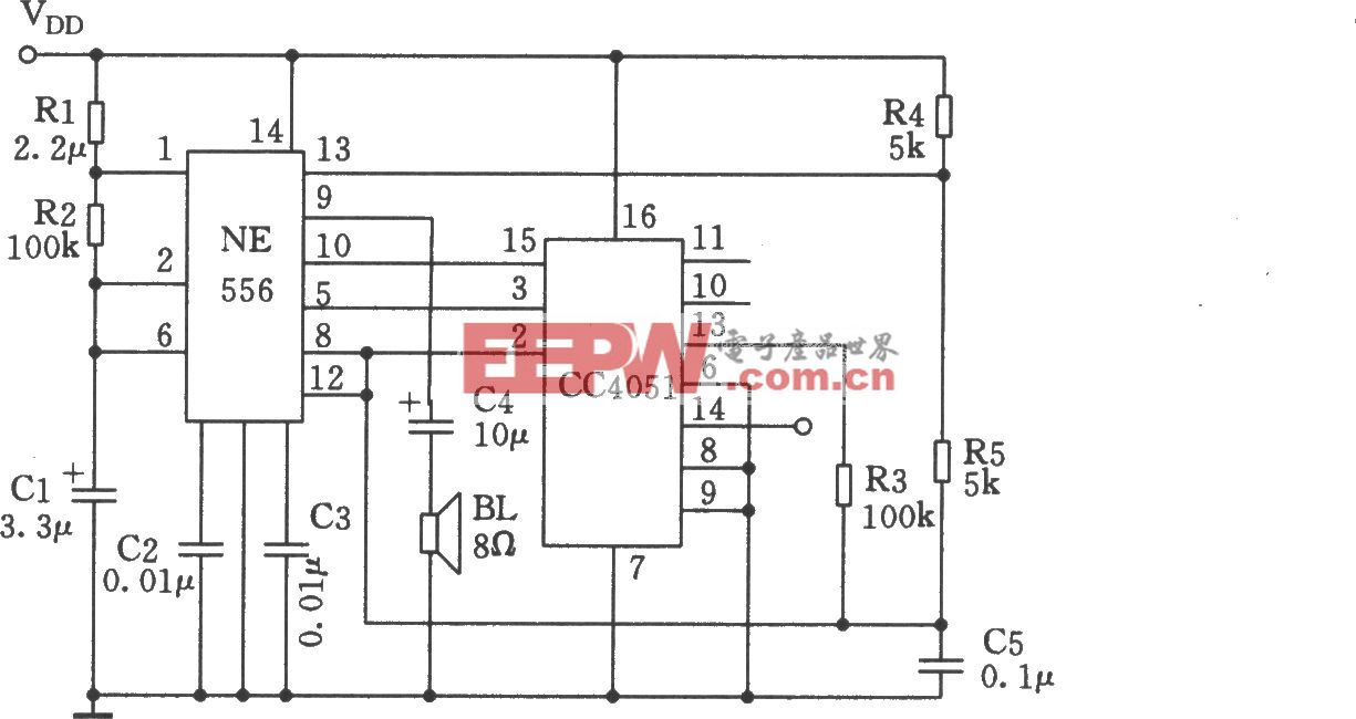 由NE555、CC4051组成的多功能音响发生器