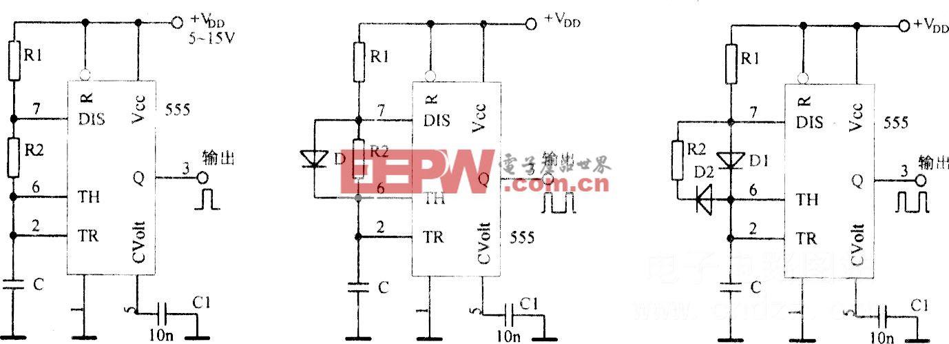 采用集成电路555构成多谐振荡器