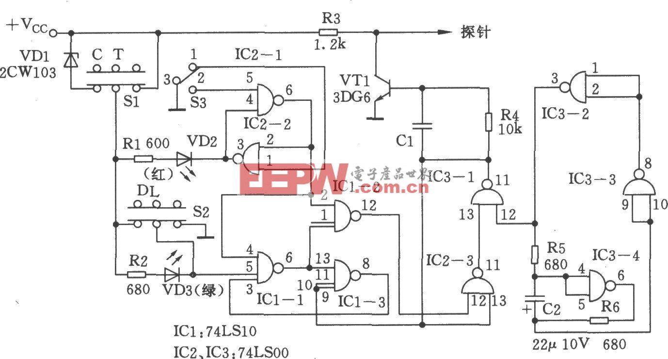 脉冲信号发生器(74LS10、74LS00)