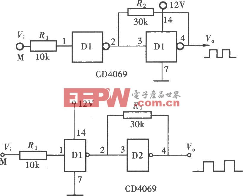 用门电路组成的脉冲整形电路(CD4069)