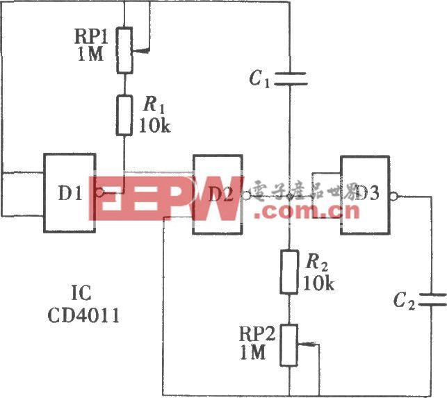 频率和脉宽可独立调整的脉冲信号源(CD4011)