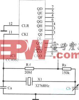 采用14级二进制CC4060构成石英秒脉冲源
