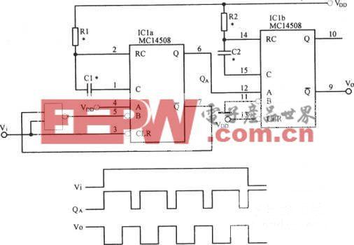 单稳态触发器构成脉冲键控脉冲源