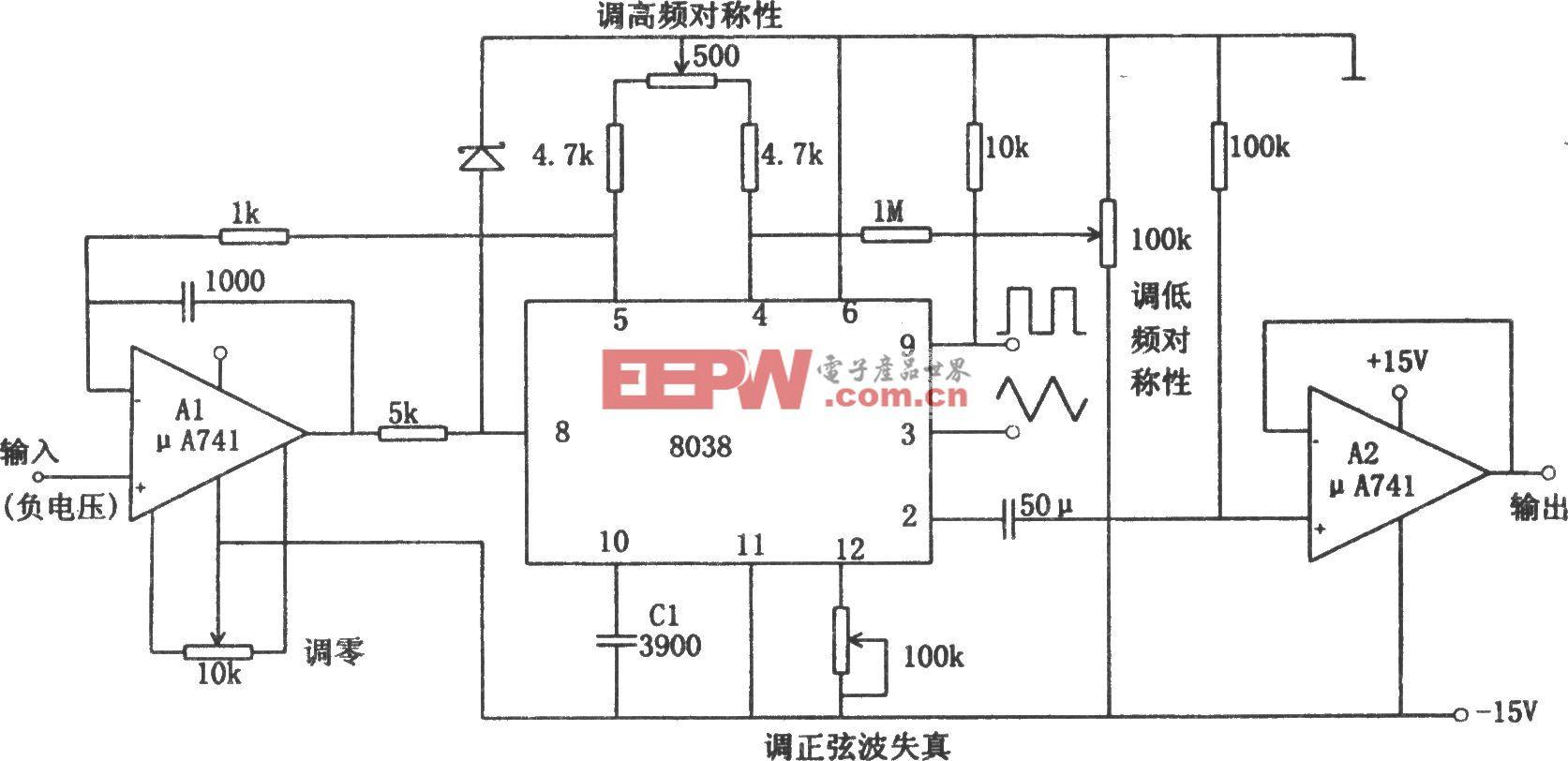 线性压控振荡器(8038、μA741)