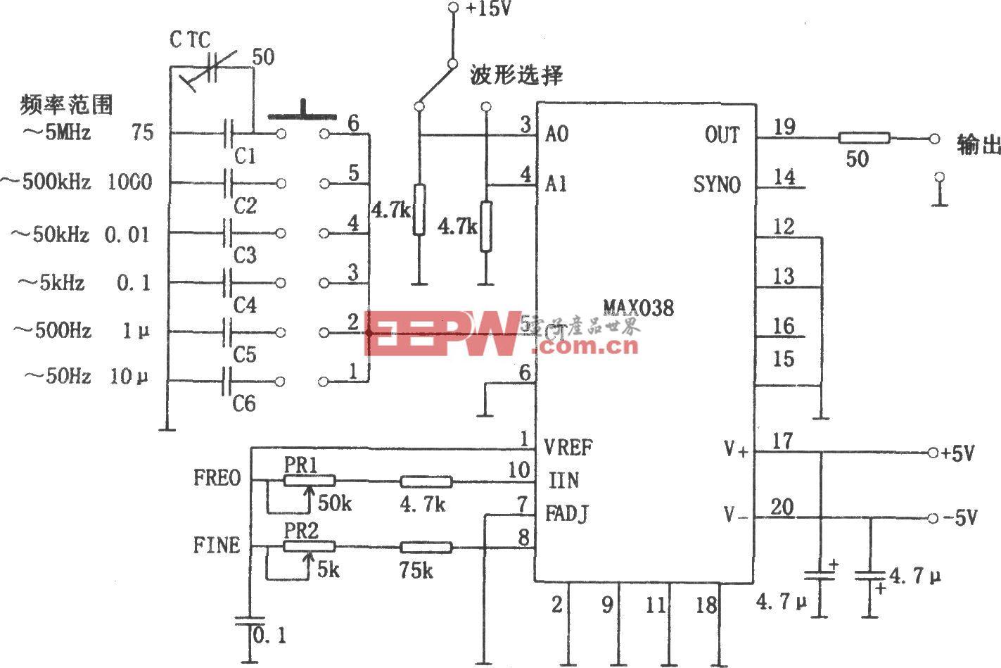 MAX038构成的5Hz~5MHz函数发生器