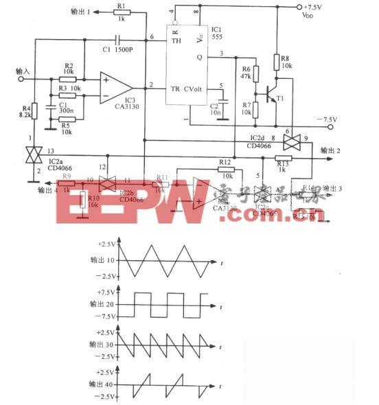 混合電路組成的多種波形振蕩器