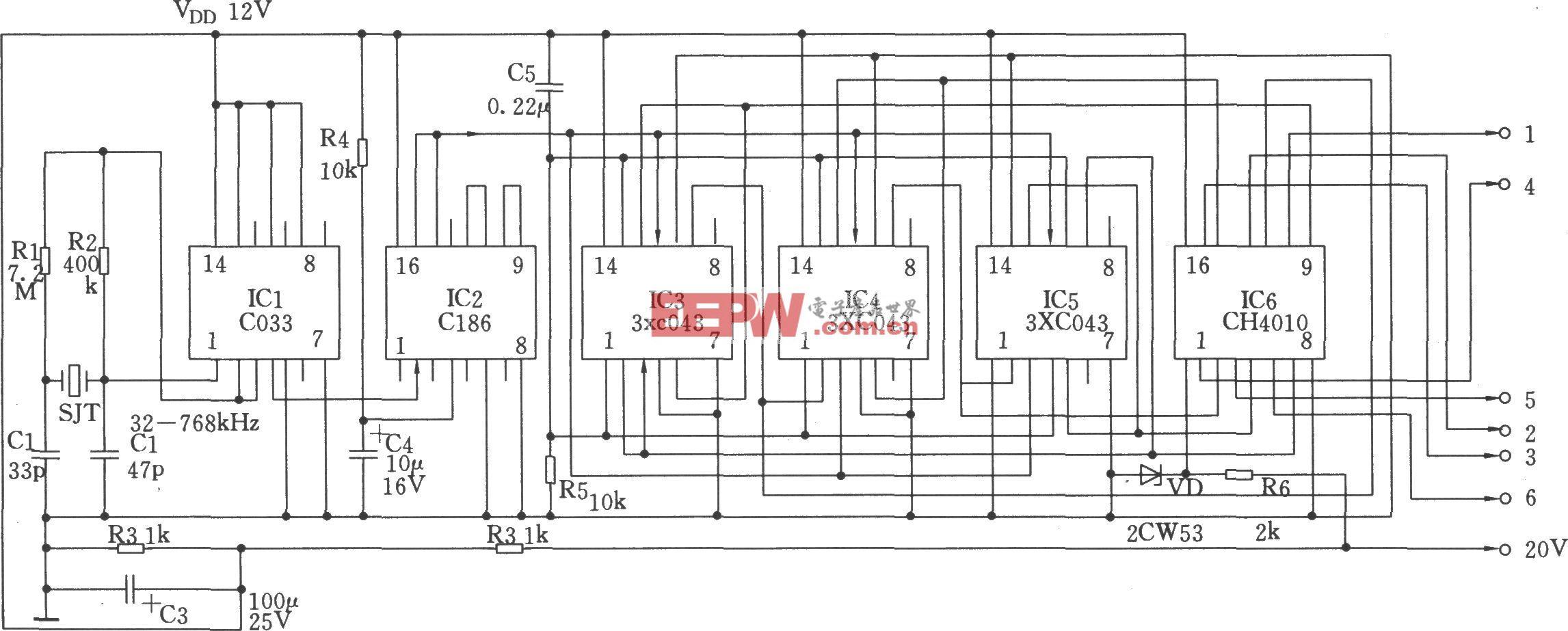 信号产生电路图 频率合成器电路图 ->三相信号发生器