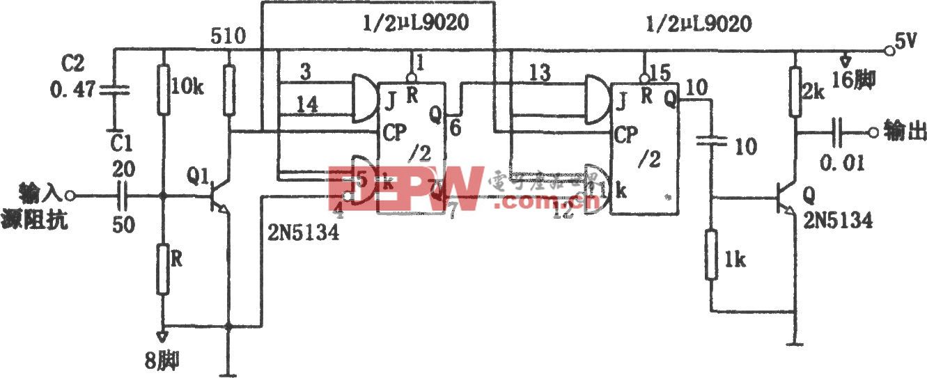 输出波形对称的奇次分频计数器(μL9020)